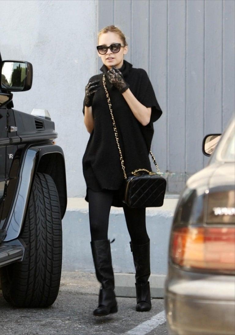 Chanel Vintage Black Quilted Patent Vanity Shoulder Crossbody Quilted Tote Bag  For Sale 2