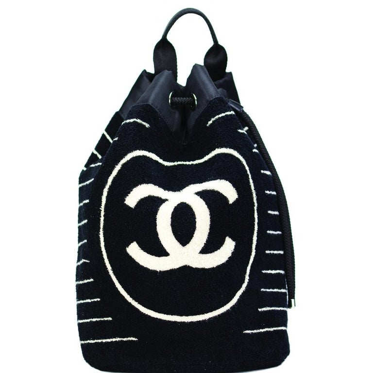 7a18de63c4cb37 Black Chanel Rare Navy Blue Striped Beach Towel Terry Cloth Bag Drawstring  Backpack For Sale