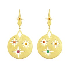 Zoe & Morgan Gold Citrine, Orange Sapphire, Emerald and Ruby Rising Sun Earrings