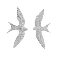 Zoe and Morgan Silver Swallow Lovers Stud Earrings