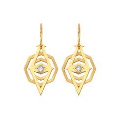 Zoe & Morgan Gold Kathmandu White Zircon Earrings