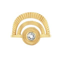 Zoe and Morgan Gold White Zircon Golden Hour Ring