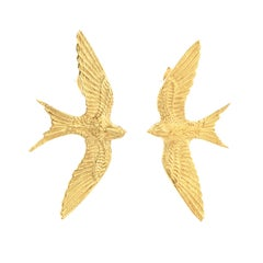 Zoe and Morgan Gold Swallow Lovers Stud Earrings