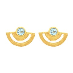 Zoe and Morgan Gold Blue Topaz Golden Hour Stud Earrings
