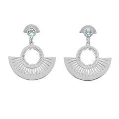 Zoe and Morgan Silver Blue Topaz Pocket Full of Sunshine Earrings
