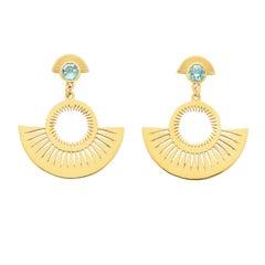 Zoe and Morgan Gold Blue Topaz Pocket Full of Sunshine Earrings