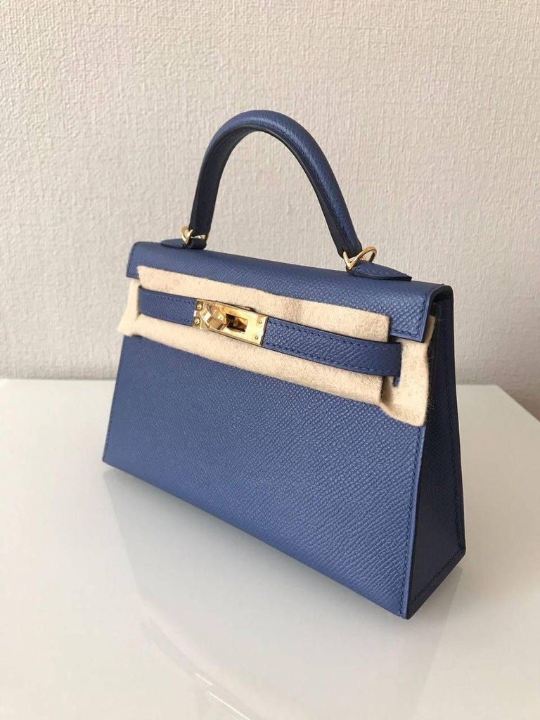 Purple Hermes Bag Kelly 20 Blue Brighton Epsom Gold Hardware For Sale