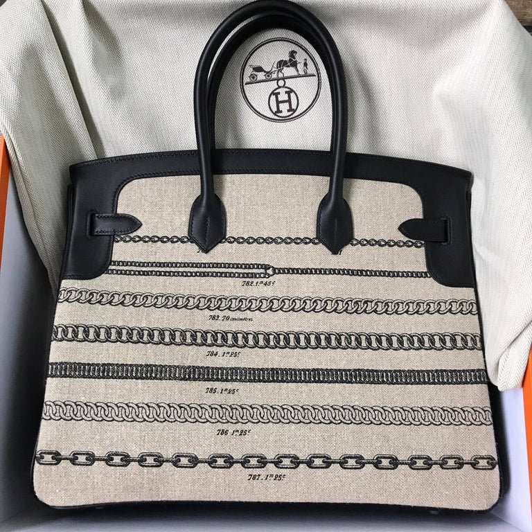 Beige Hermes Bag Birkin 35 Limited Toile De Camp Dechainee/Swift Ficelle-Noir/Noir  For Sale