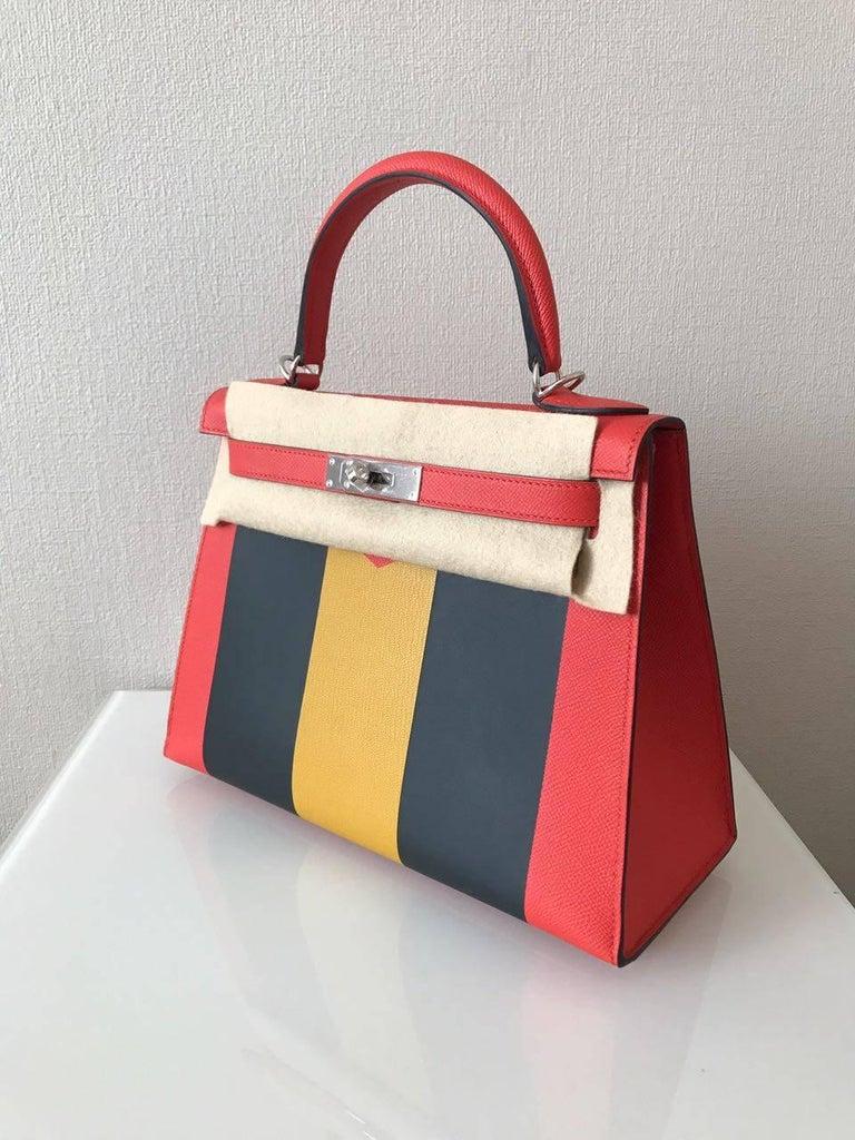 Brown Hermes Limited Edition 28 Lettre M Epsom Palladium Hardware Kelly Handbag  For Sale