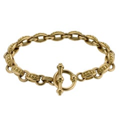 18 Karat Gold Oval Bead Link Toggle Bracelet By Michele Berman