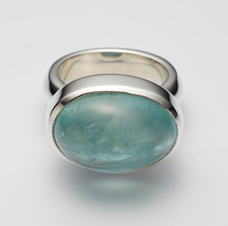 Oval Cut Aquamarine Cabochon Sterling Silver Ring For Sale