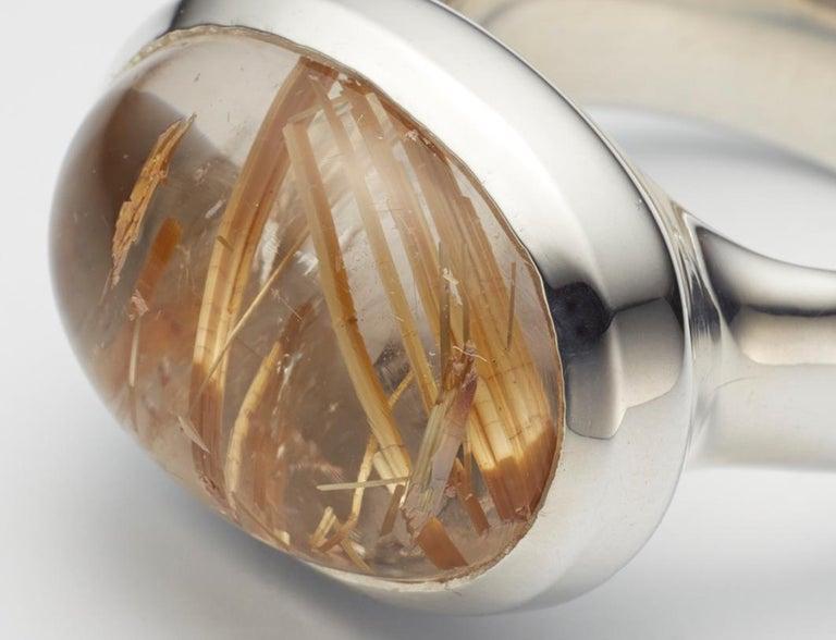 Contemporary Golden Brazilian Rutilated Quartz Cabochon Sterling Silver Ring For Sale