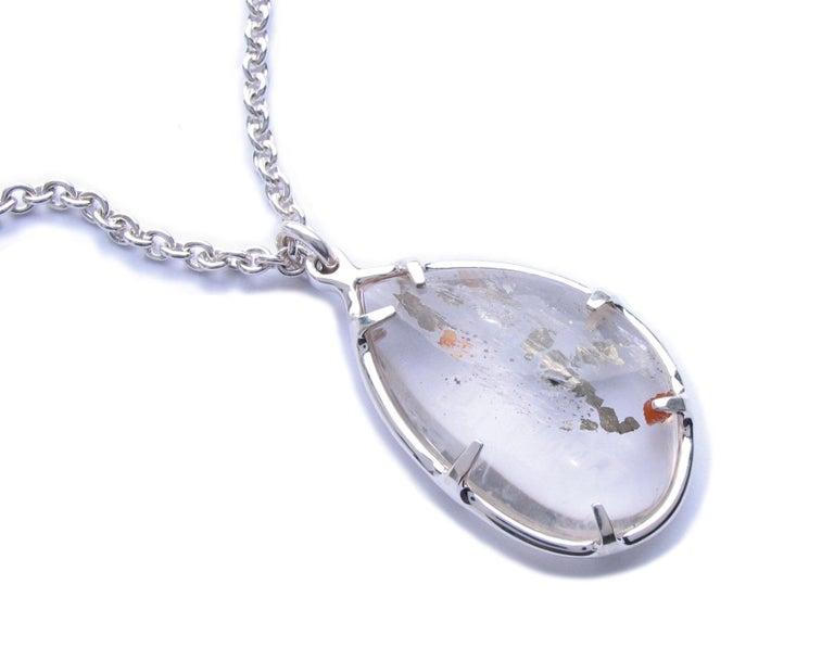 Contemporary Large Pyrite Quartz Silver Pendant Necklace For Sale