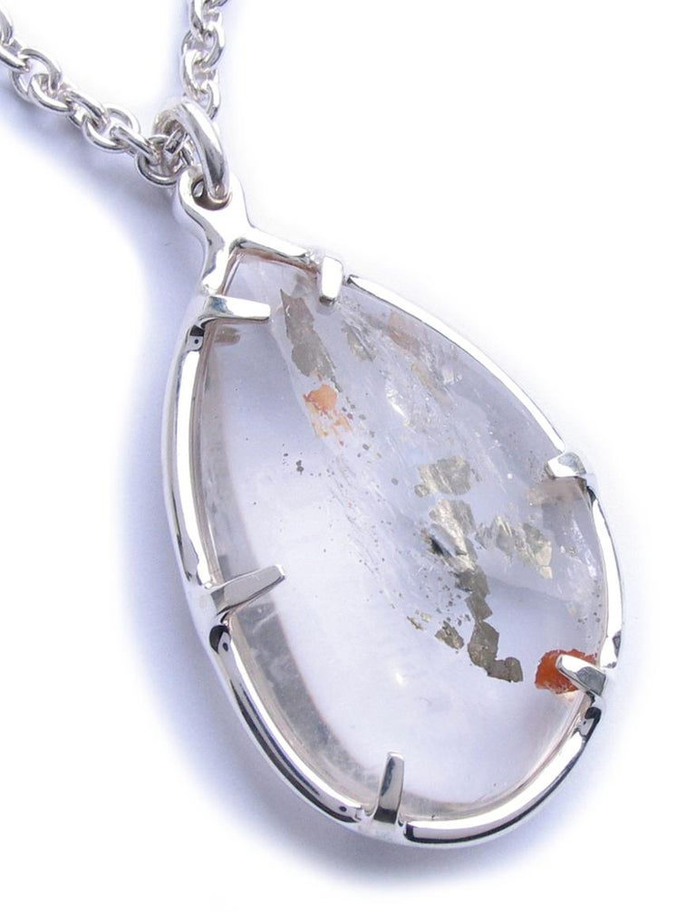 Large Pyrite Quartz Silver Pendant Necklace In New Condition For Sale In New York, NY