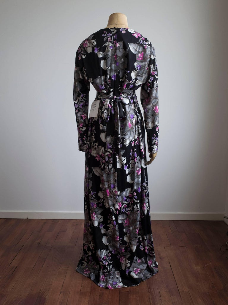 1960s Floral Print Gown For Sale at 1stdibs