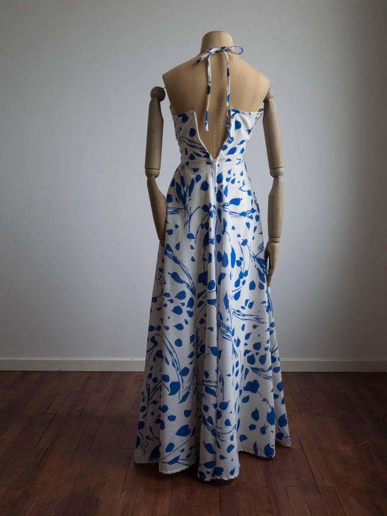 Gray 1960s Halter Dress by Jean Allen For Sale