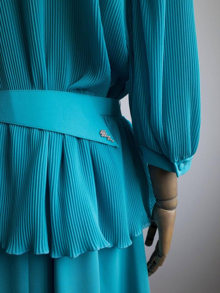 Women's 1980s Pleated Cocktail Dress Vibrant Blue Hue designed by Hermann Lange For Sale