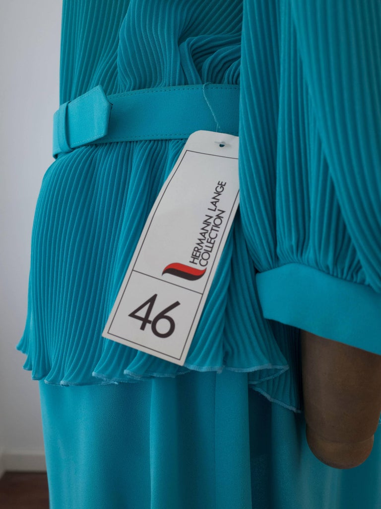 1980s Pleated Cocktail Dress Vibrant Blue Hue designed by Hermann Lange For Sale 1