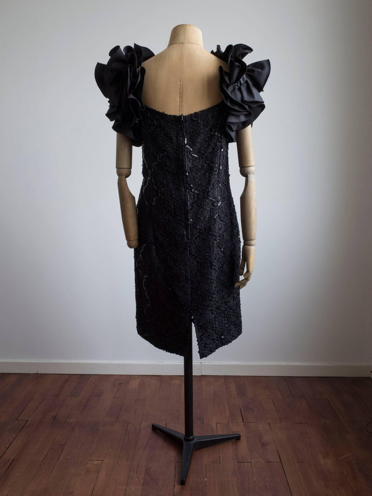 Black 1980s Ruffle Sleeve Cocktail Dress For Sale