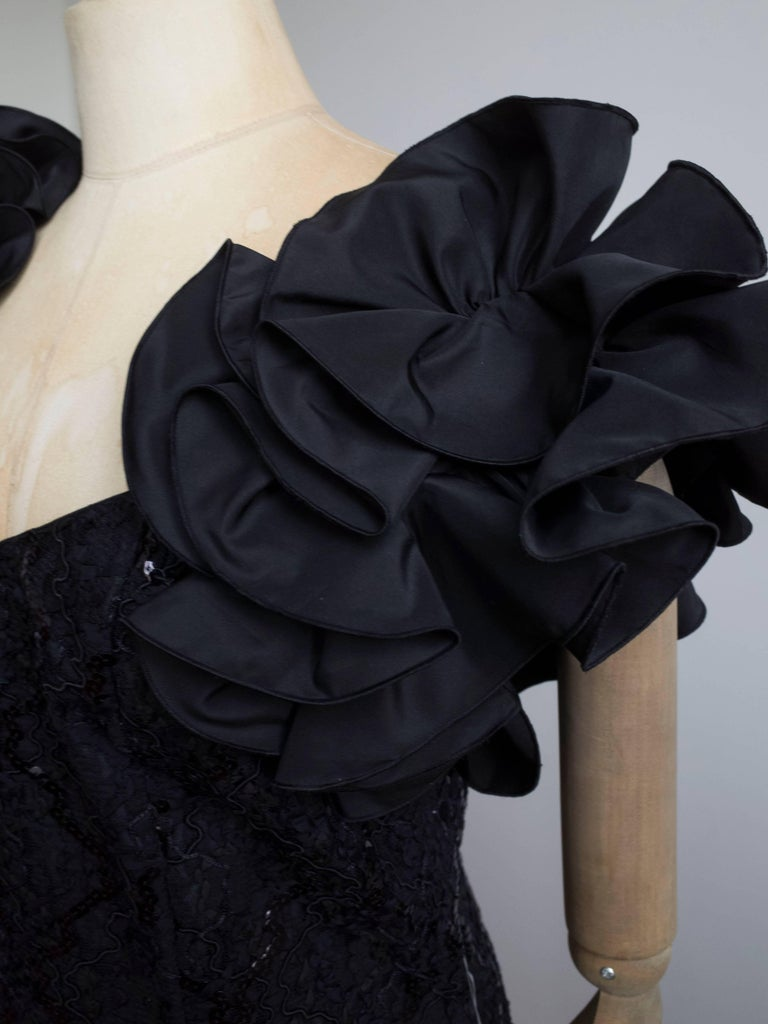 1980s Ruffle Sleeve Cocktail Dress For Sale 1