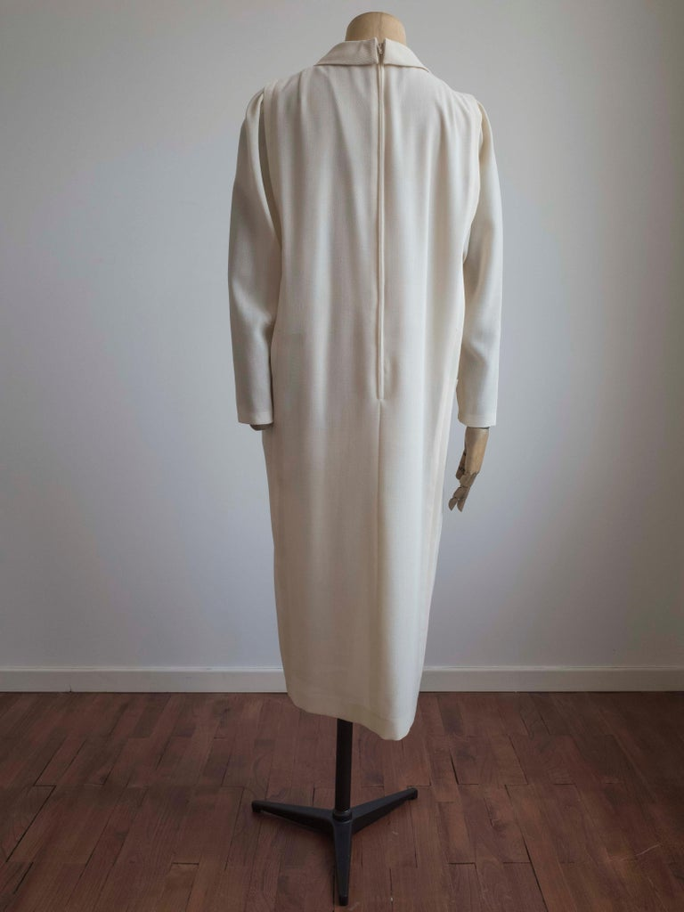 Gray 1960s Cream Wool Dress For Sale
