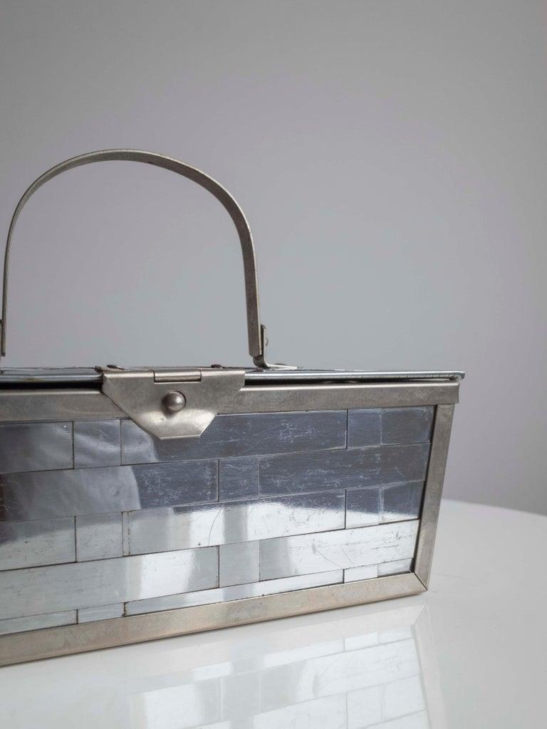 Women's or Men's 1960s Silver Basket Weave Mod Box Handbag For Sale