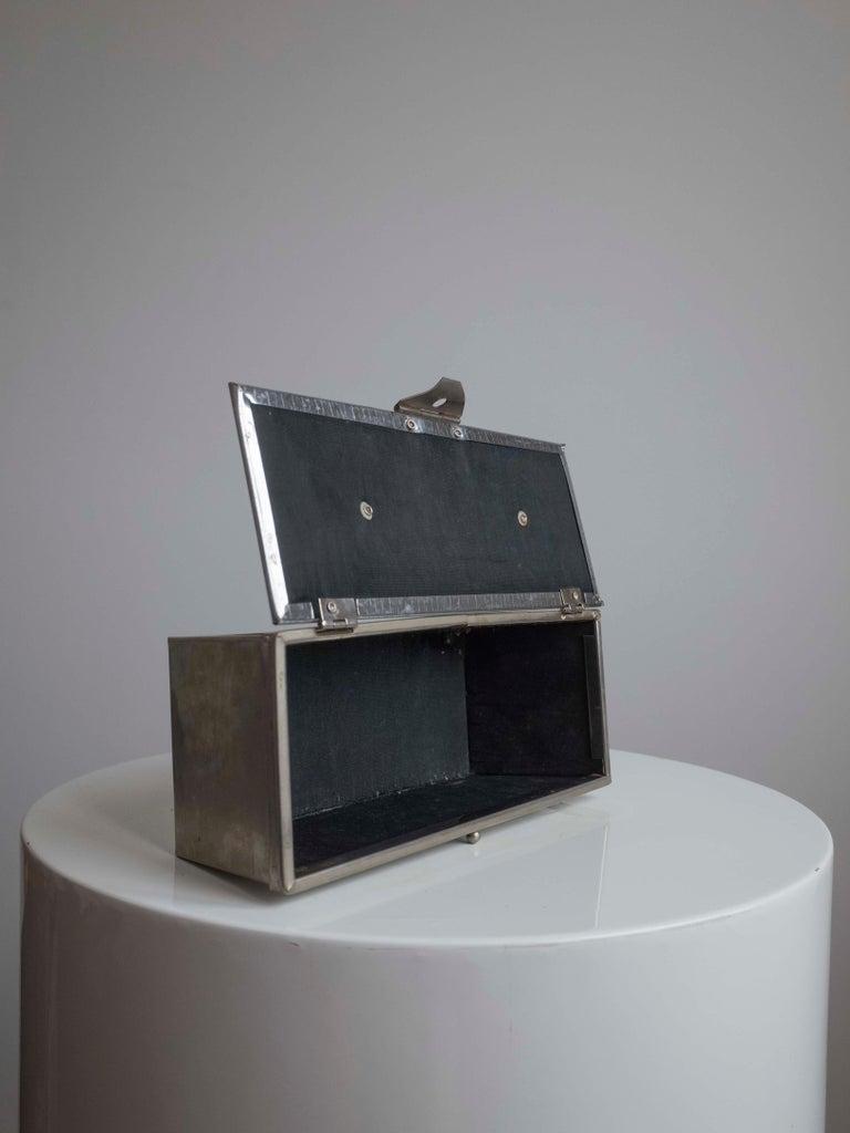 1960s Silver Basket Weave Mod Box Handbag For Sale 2