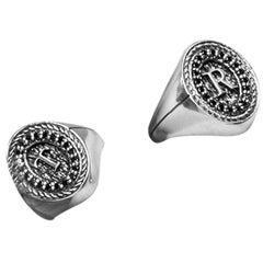 "Iosselliani Silver and Black Diamond ""myfriendsring""Signet Engagement Ring"