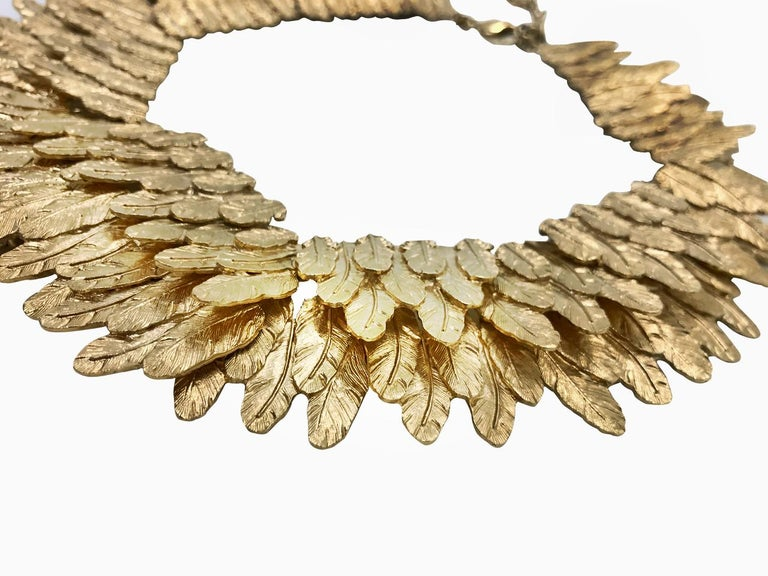 Contemporary Chanel Gold tone Feather Collar Choker Necklace, 2008   For Sale