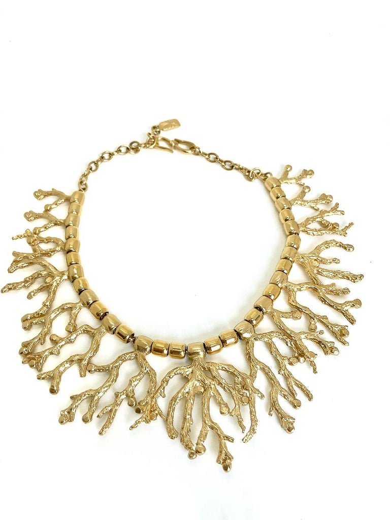 Yves Saint Laurent YSL Goosens Vintage Gold Plated Coral Necklace, 1970s   For Sale 2