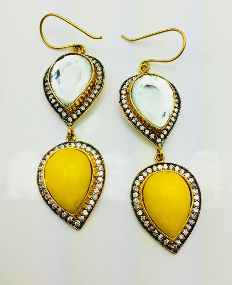 Contemporary Polki Mirror Resin Drop Earrings For Sale