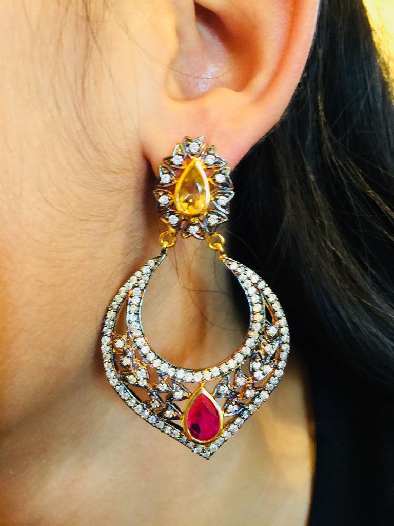 Mixed Cut Taj Faux Ruby Crystal Earrings  For Sale