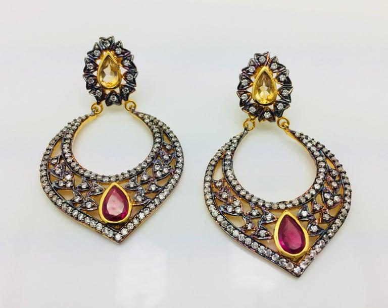 Taj Faux Ruby Crystal Earrings  In New Condition For Sale In Hoffman Estates, IL