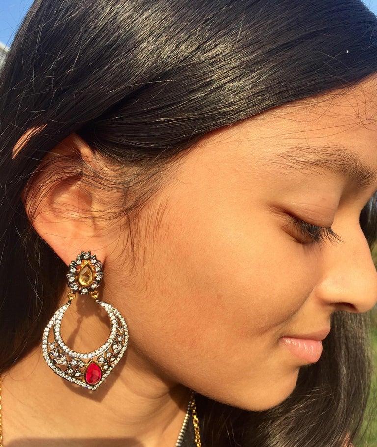 Victorian Taj Faux Ruby Crystal Earrings  For Sale