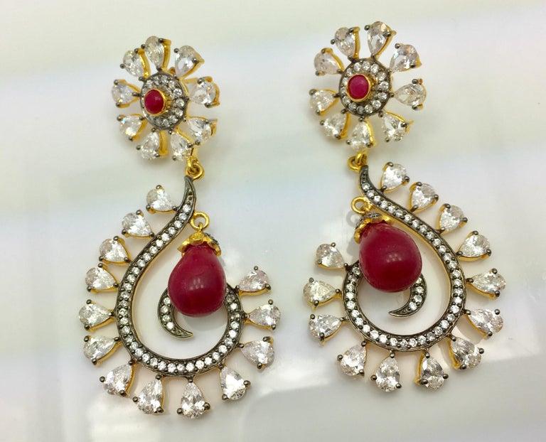Artisan MEGHNA JEWELS Rani Earrings Cubic Zircon For Sale