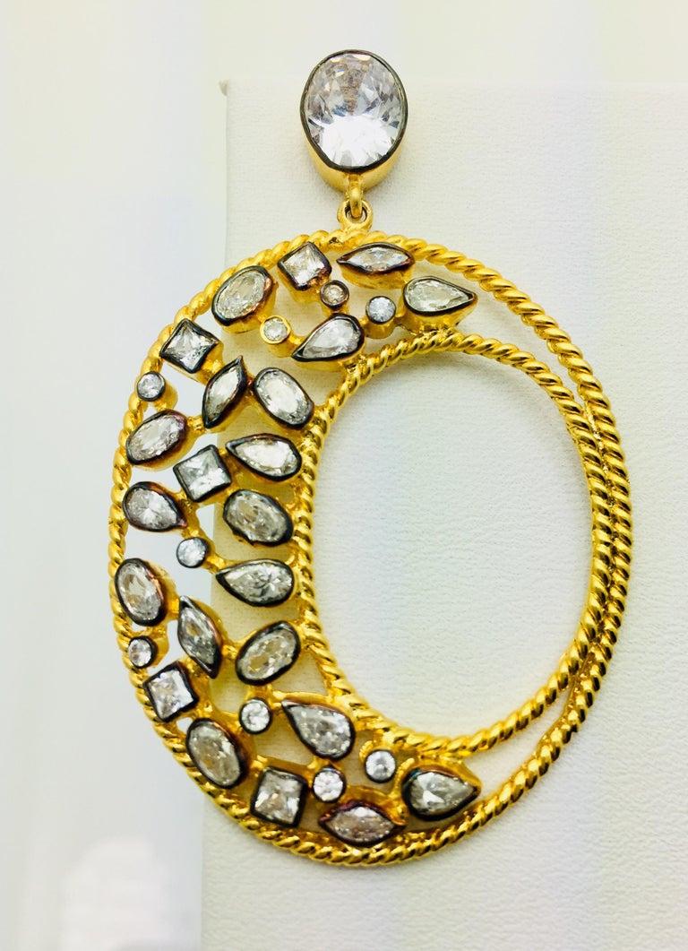 Modern Diva Hoop Crystal Earrings  For Sale