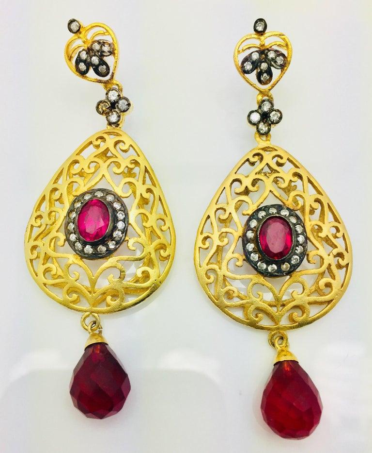 Artisan Filigree Faux Ruby Crystal Earrings For Sale