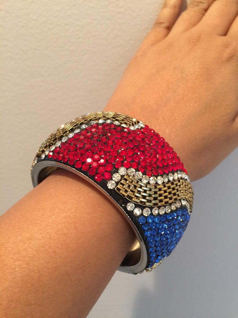 Women's MEGHNA JEWELS Statement Rainbow Rhinestone and Crystal bangle bracelet For Sale