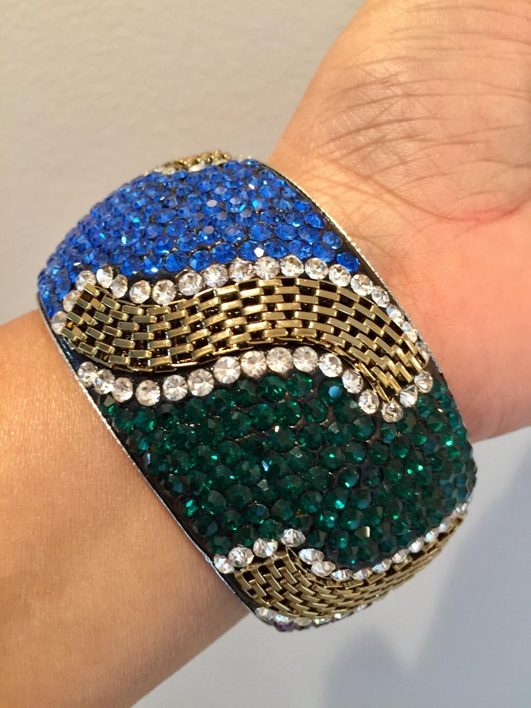 MEGHNA JEWELS Statement Rainbow Rhinestone and Crystal bangle bracelet For Sale 1