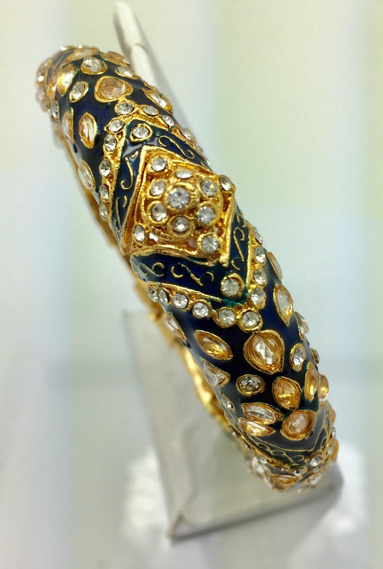 Artisan MEGHNA JEWELS Handcrafted Blue Enamel and Crystal Hinged Bangle Bracelet For Sale