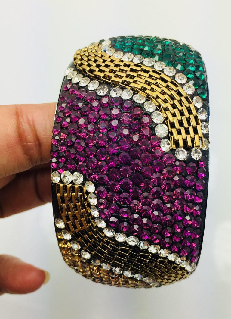 Contemporary MEGHNA JEWELS Statement Rainbow Rhinestone and Crystal bangle bracelet For Sale