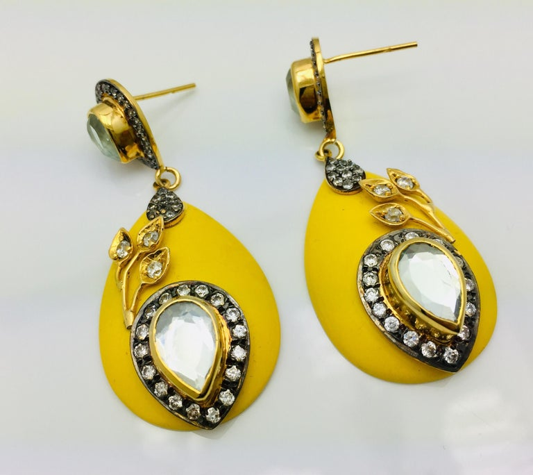 Meghna Jewels Handcrafted Resin Yellow Leaf Earrings  2