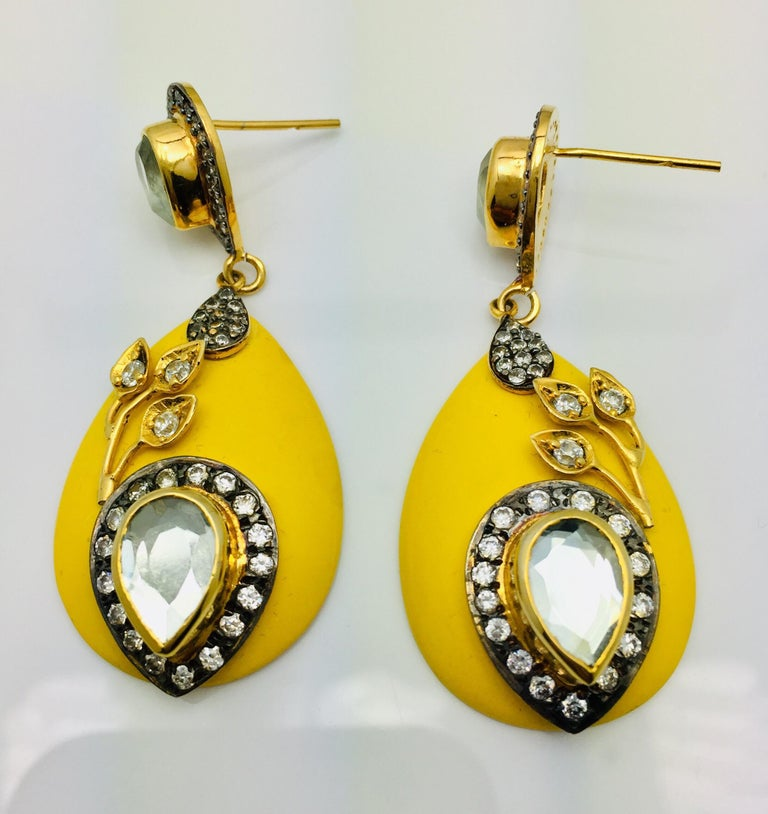 Meghna Jewels Handcrafted Resin Yellow Leaf Earrings  3