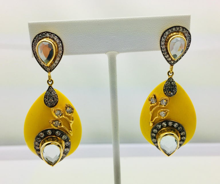 Meghna Jewels Handcrafted Resin Yellow Leaf Earrings  4