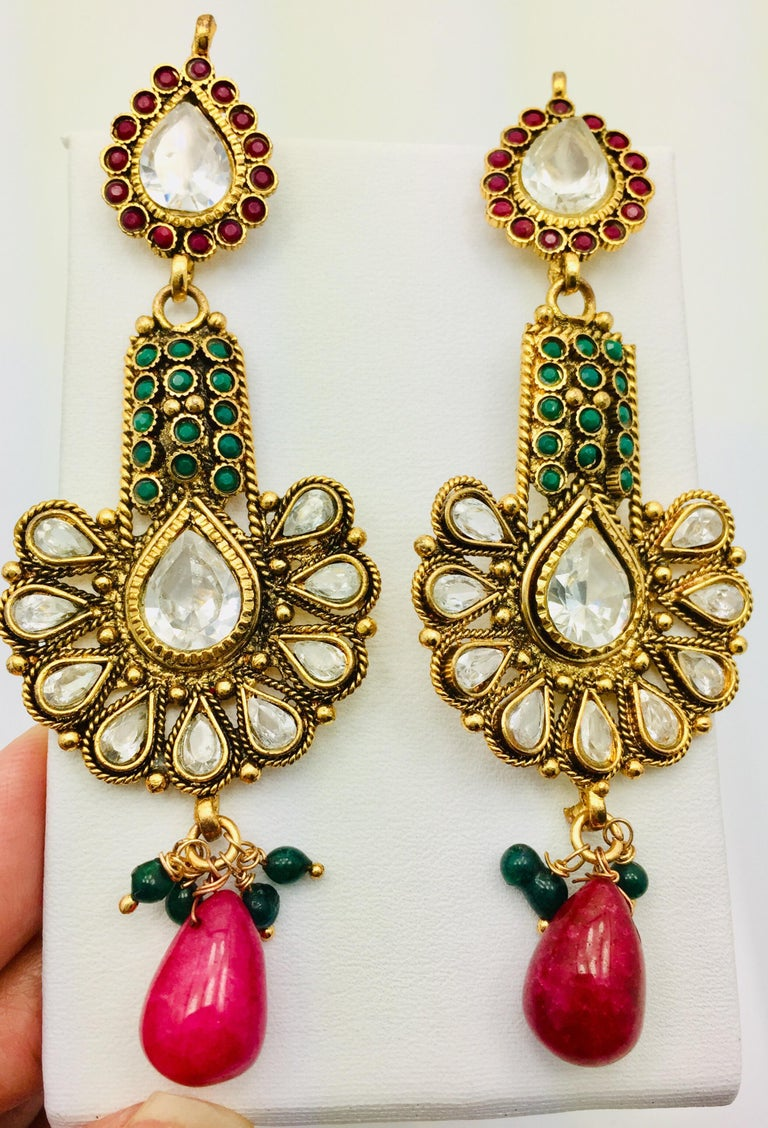 Mixed Cut Antique Style Green and Faux Ruby Earrings For Sale