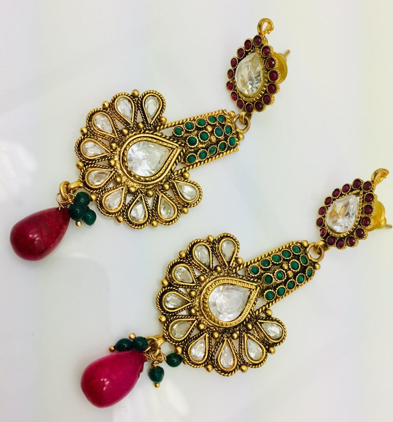 Artisan Antique Style Green and Faux Ruby Earrings For Sale