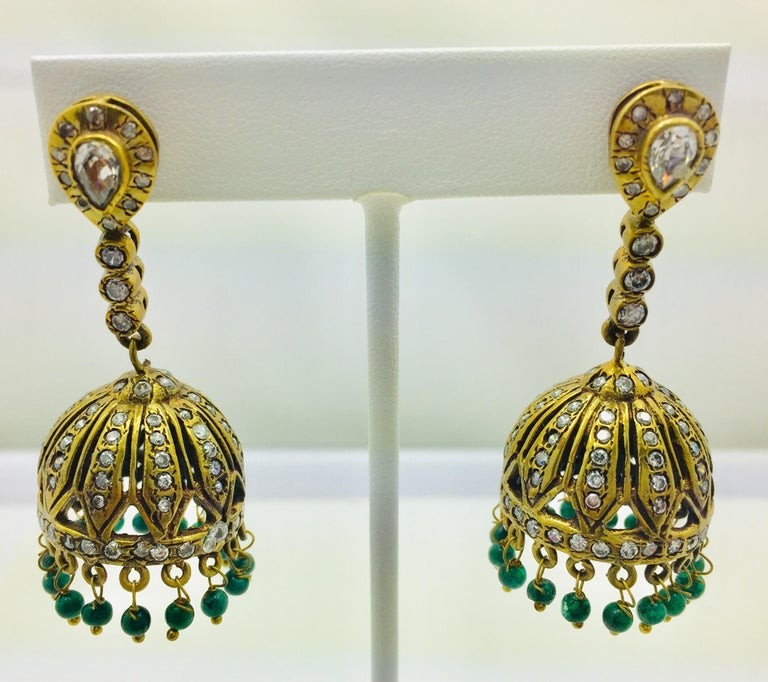 Meghna Jewels Antique Style Dome Tassel & Faux Emerald Bead Earrings In New Condition For Sale In Hoffman Estates, IL