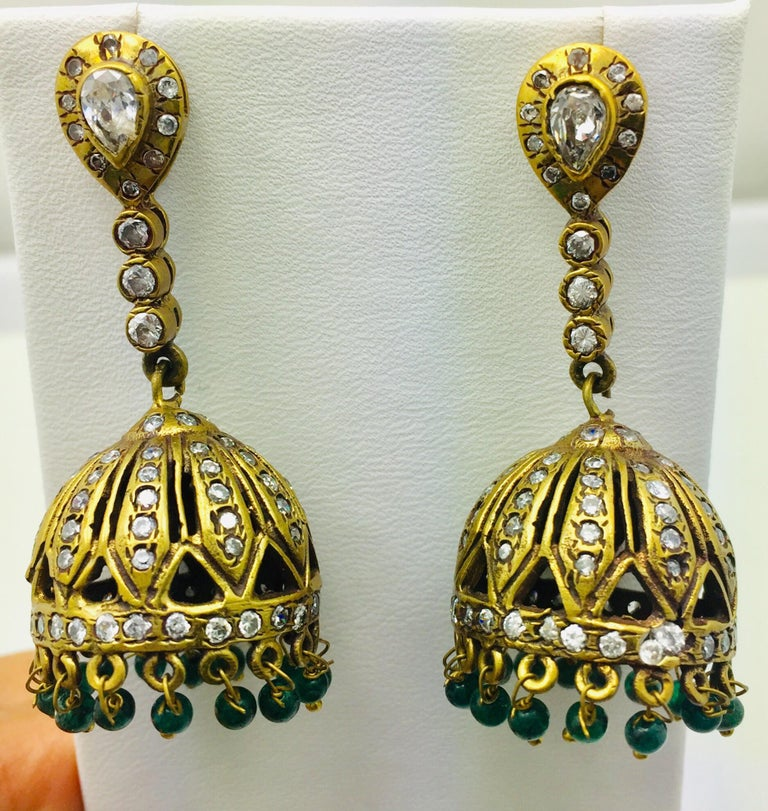 Women's Meghna Jewels Antique Style Dome Tassel & Faux Emerald Bead Earrings For Sale