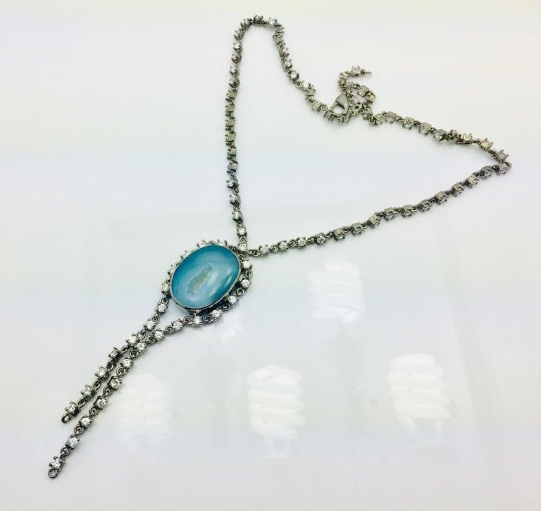Meghna Schmuck handgefertigt Krater Geode Druzy kubischer Zirkon Halskette 3