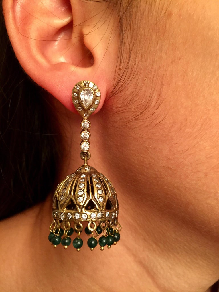 Meghna Jewels Antique Style Dome Tassel & Faux Emerald Bead Earrings For Sale 1